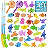 Fishing Toy,Bath Toy,39 Piece Magnetic Fishing Toy,Original Color Waterproof Floating Bathtub Toy Fishing Learning Education Play Set,Outdoor Fun Fishing Game Great Gift For Todders Kids