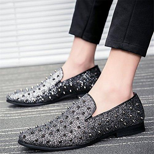 Casuales Metal Segundo Mocasines Remaches Cuero Negocios Costura Zapatos Para Color Correspondencia De Hombres Cuero CXTxCwPq