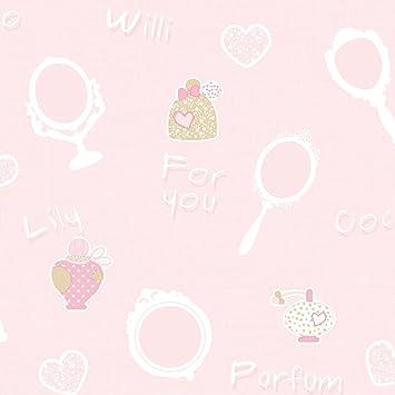 Rasch tapeten kinderzimmer mädchen  Rasch Textil Kinderzimmer Tapete Mädchen, pink rosa, Spiegel und ...