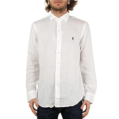 Polo Ralph Lauren Camicia in Lino Uomo Mod. 710691123 XXL: Amazon ...