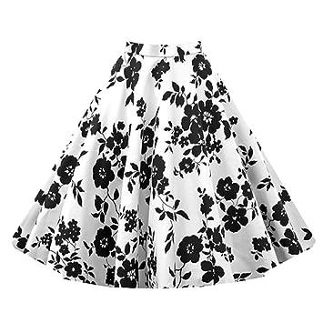 para Mujer Vintage Floral Swing Full Circle Casual Falda Corto Retro Vestidos Blanco XXXXL