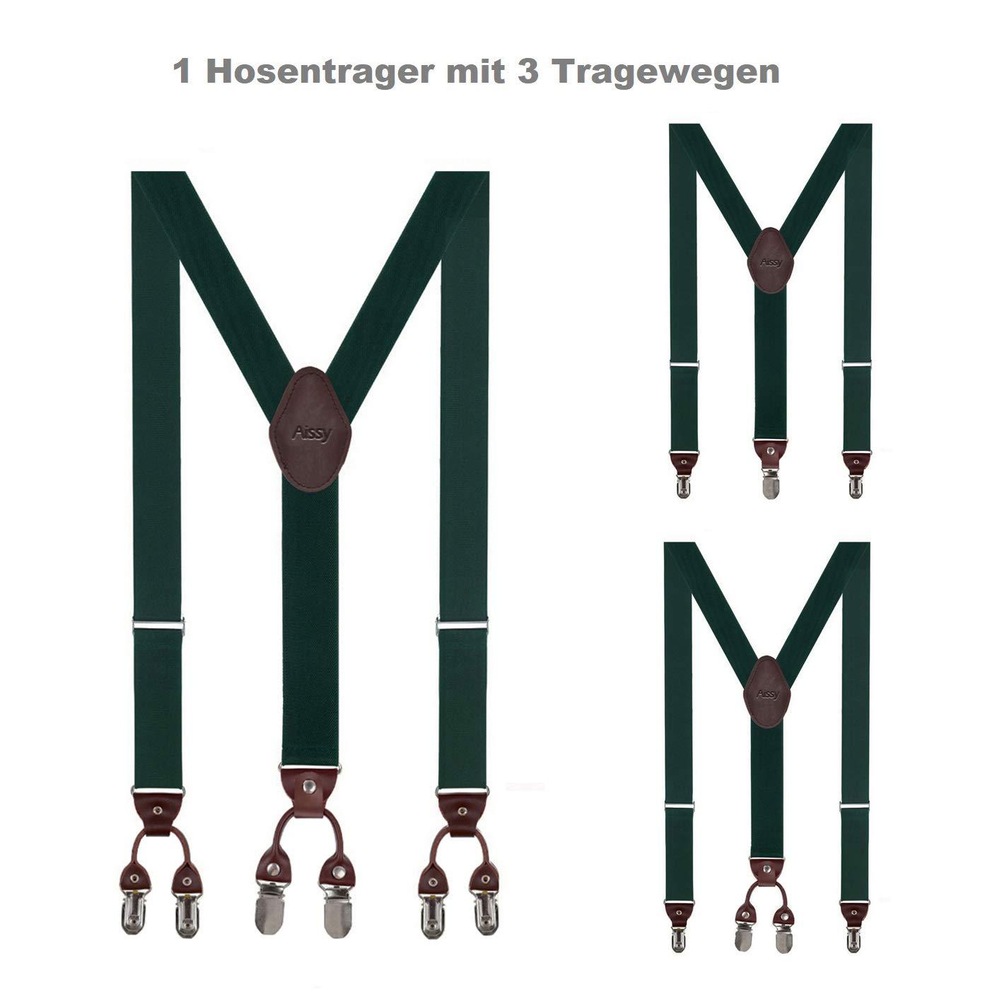 Aissy 3 WAY TO WEAR bretelle per uomo 3,5 cm a Y elastica e lunghezza regolabile bretelle larghezza con 6 clip forti e papillon