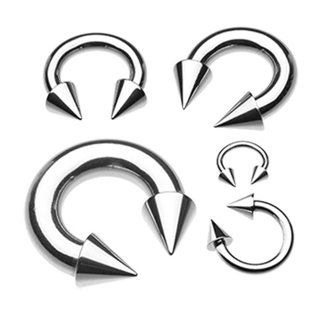 Sold Individually Inspiration Dezigns Basic Spike Top Steel Horseshoe Circular Barbell