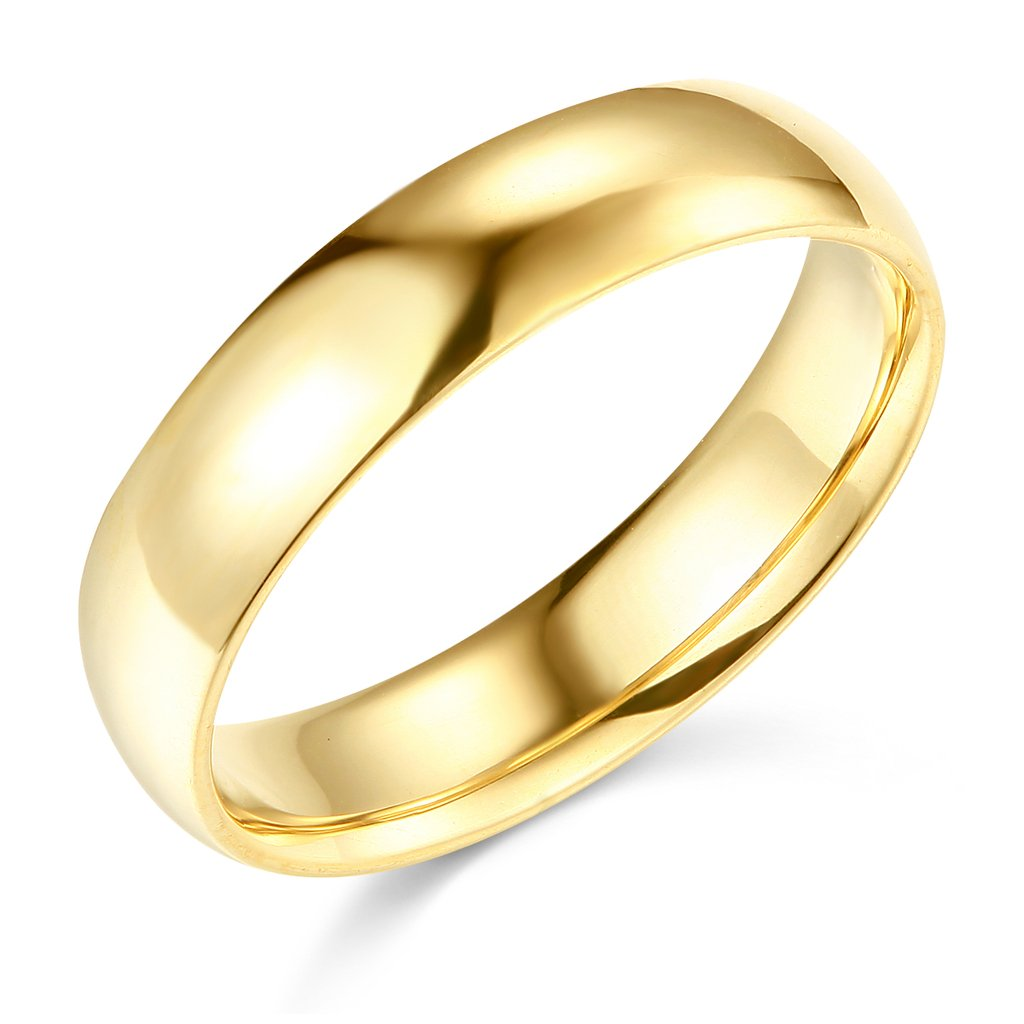 Wellingsale Mens 14k Yellow Gold Solid 5mm CLASSIC FIT Traditional Wedding Band Ring - Size 6.5