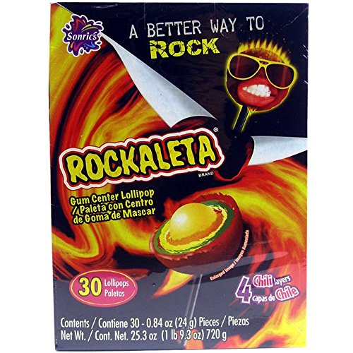 Sonrics Rockaleta Lollipop Chili Layered with Gum Center - 30 Ct. Case