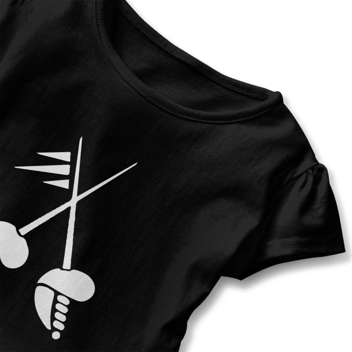 CZnuen Crossed Fencing Baby Girls Basic Short Puff Sleeve Round Neck Ruffle T-Shirt