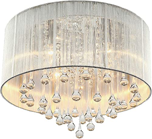 NIUYAO Modern Crystal Raindrop Silver Chandelier Lighting Flush Mount LED Ceiling Light Fixture Pendant Lamp