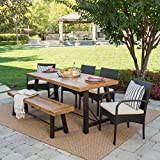 Belham Outdoor 6 Piece Teak Finished Acacia Wood Dining Set with Multibrown Wicker Dining Chairs and Crème Water Resistant Cushions