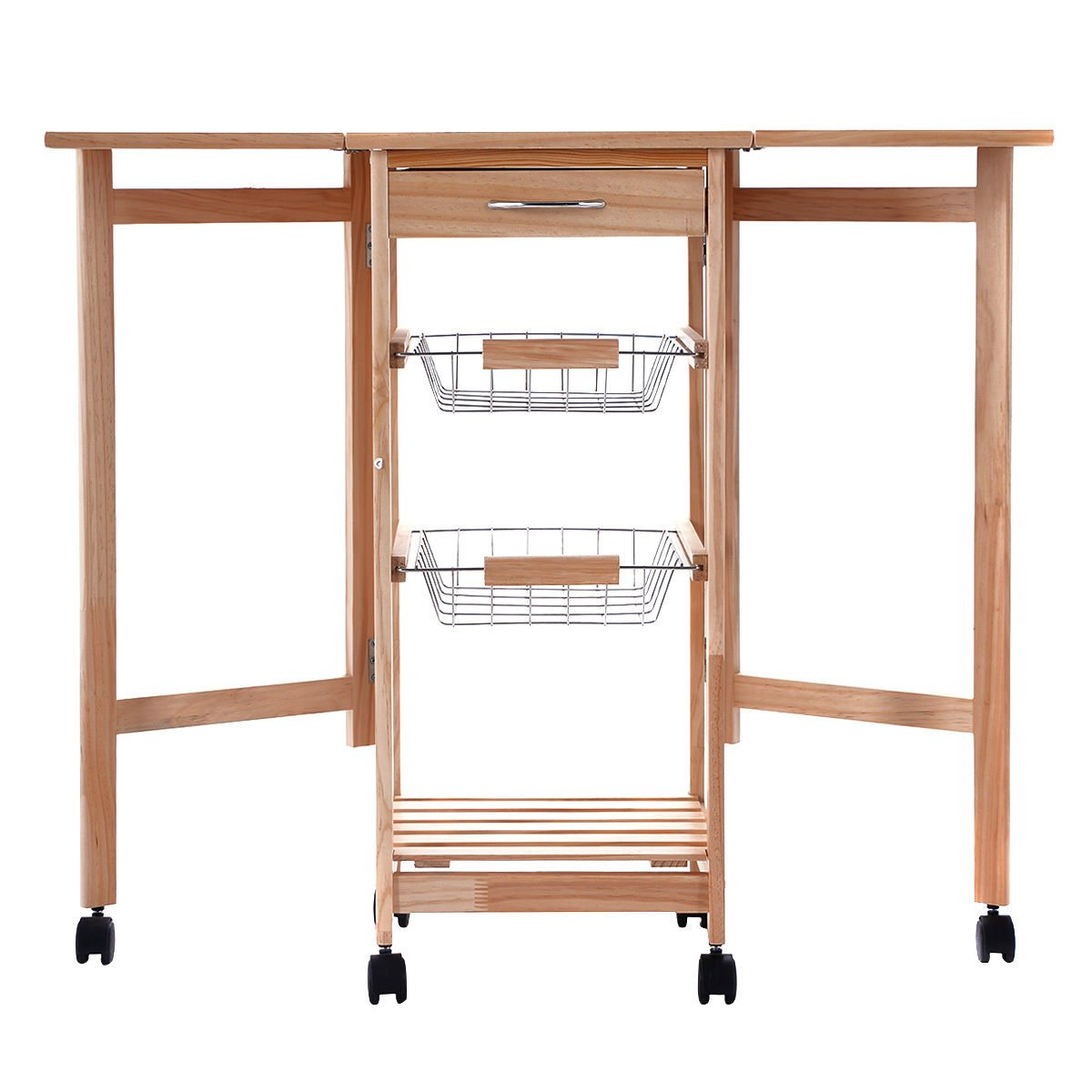New Portable Rolling Wood Kitchen Trolley Cart Drop Leaf Storage Drawers Rack Basket
