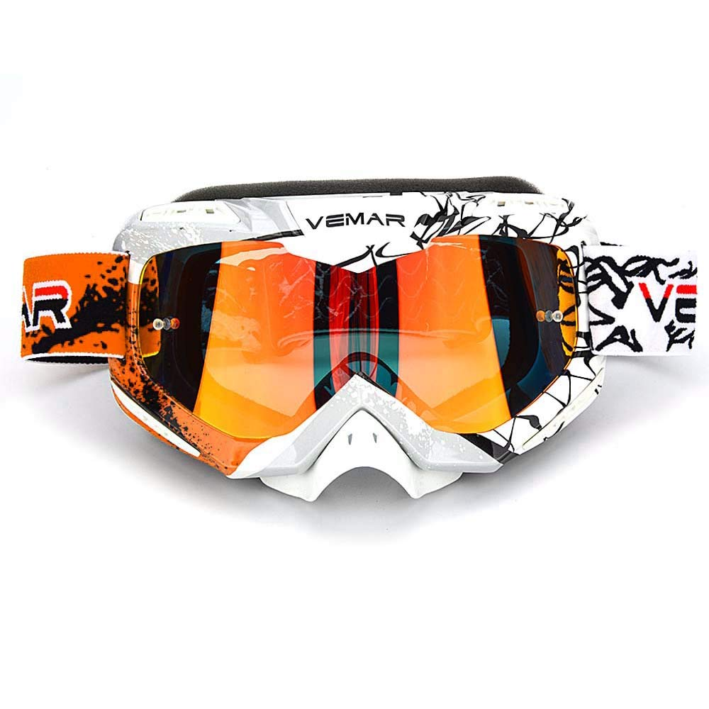 Motorcycle Motocross Goggles, ATV Dirt Bike Off Road Racing MX Riding Ski Snowboard Goggle Bendable Anti Fog Eyewear Padded Soft Thick Foam,tear-off pins Cycling goggles(Orange-newest model) by Ubelly