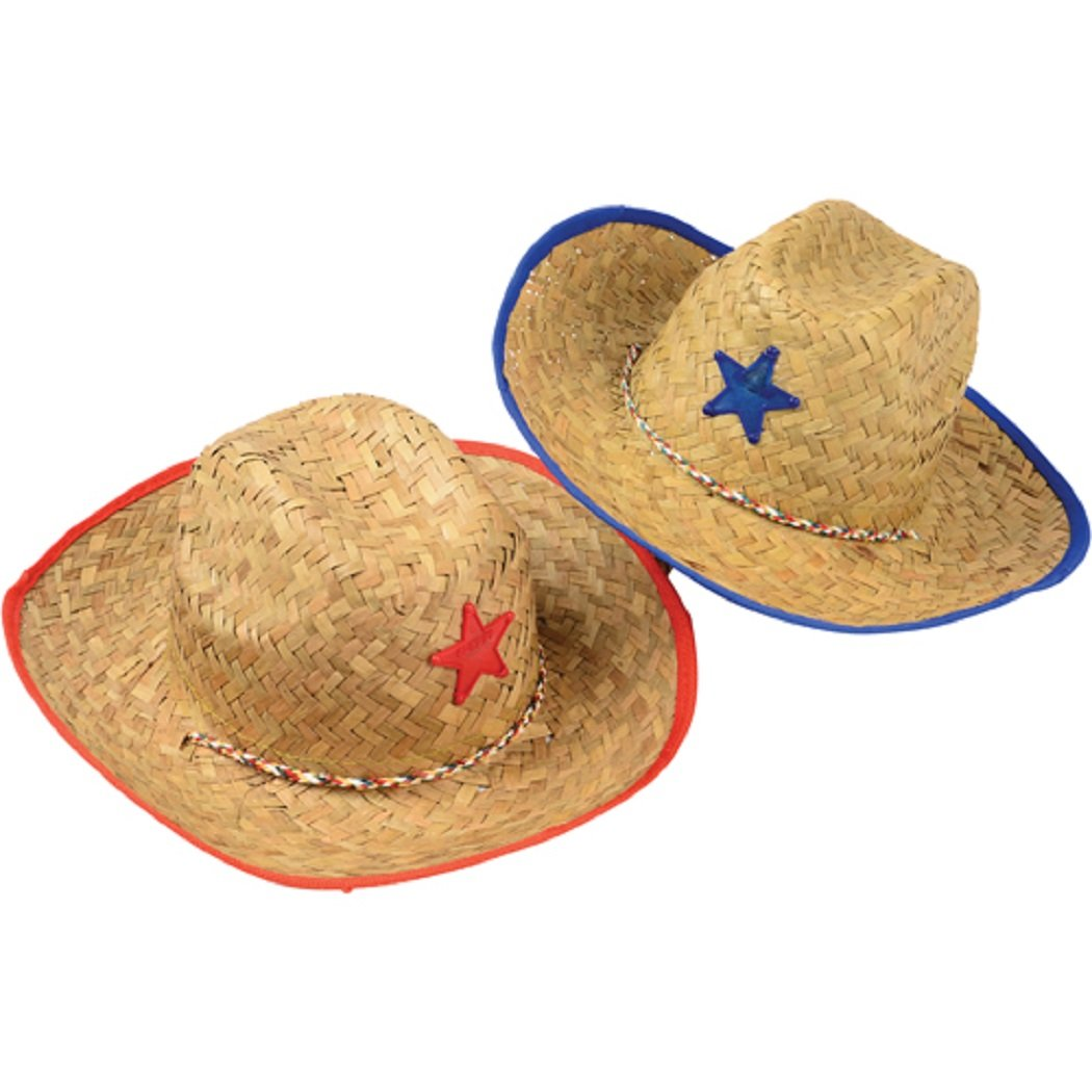 SK Novelty Children/Youth Straw Cowboy Hats with Plastic Star - 12 Pack