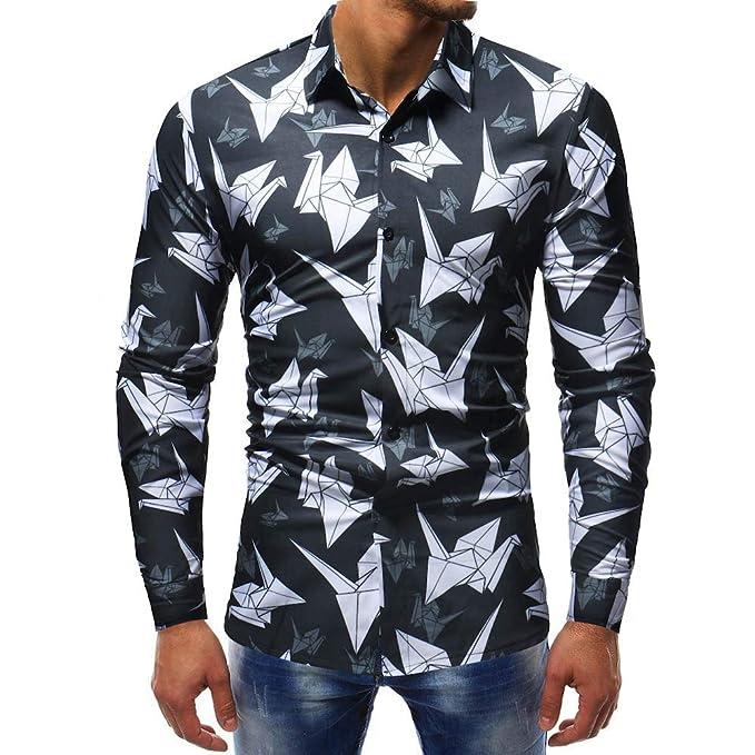 Camisa Estampada de Manga Larga, Casual, Delgada, Casual, para Hombres, de