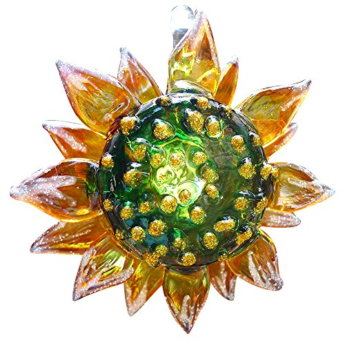 - Sansukjai Sunflower Flower Miniature Figurines Hand Painted Blown Glass Art Wall Hanging Ornaments Home Decor Collection Gift