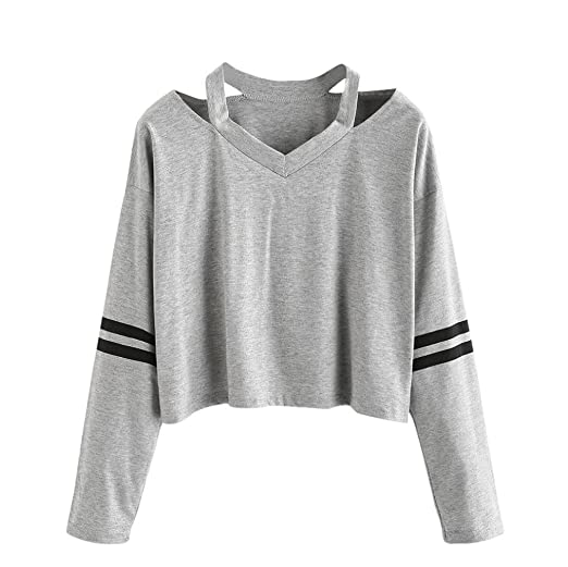 Vovotrade Moda Mujer Blusas y Camisas Medio hombro Longitud corta Sudaderas Impresión Manga larga Casual Camisetas y Tops Blouse Fiesta Mezcla de Algodon ...