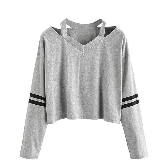 Vovotrade Moda Mujer Blusas y Camisas Medio Hombro Longitud Corta Sudaderas Impresión Manga Larga Casual Camisetas