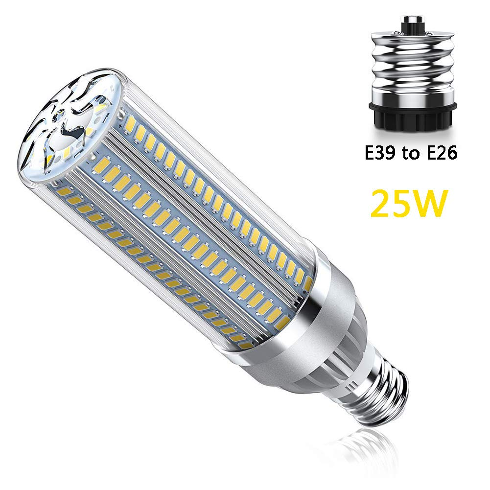 XLQF LED Light E26 Lamp AC 85V-265V LED Corn Bulb 5730 SMD Replace Candle Lamp for Modern Ceiling Lighting with E39 Base Adapter,Coolwhite by XLQF