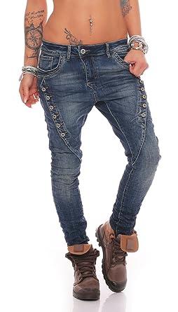 eb4e409266c60b Fashion4Young MOZZAAR Damen Jeans Röhrenjeans Haremshose Hüftjeans Baggy  Haremsjeans Boyfriend (XS=34, 10784