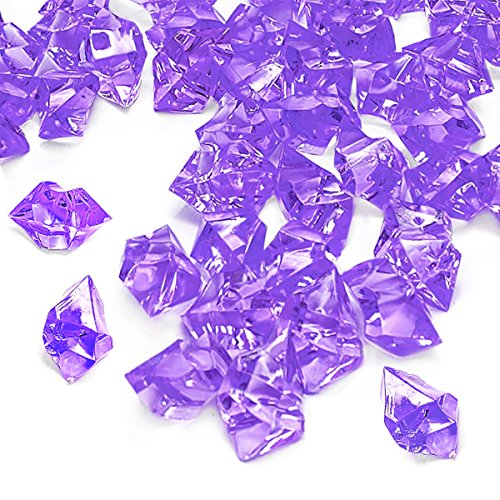 (Purple Fake Crushed Ice Rocks, 150 PCS Fake Diamonds Plastic Ice Cubes Acrylic Clear Ice Rock Diamond Crystals Fake Ice Cubes Gems for Home Decoration Wedding Display Vase Fillers by DomeStar)