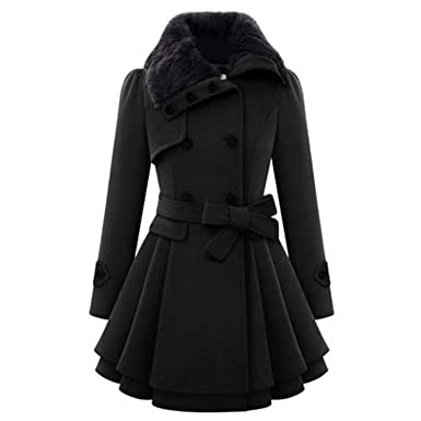 Amazon.com: Warm Thick Abrigos Mujer Invierno New Double-Breasted Mid-Length Vintage Overcoat Wool Lapel Coats: Clothing