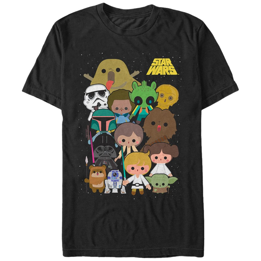 Star Wars Men's Cute Cartoon Character Group Black T-Shirt