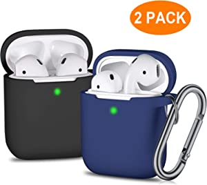 Airpods Case Cover with Keychain 2 Pack, Soft Full Protective Silicone Chargeable Headphone Case Skin with Carabiner for Girls Boys Teens Women and Men with Apple 2 and 1, Black,Midnight Blue