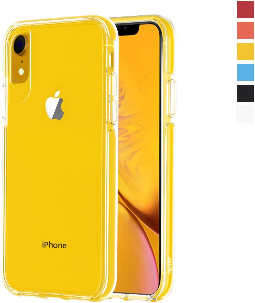 ismabo Ispider Clear Case Designed for iPhone XR, [9.8 Feet Anti-Fall] Premium Protective Case for Apple iPhone XR, [Hard PC Back and Dual-Layer Reinforced TPU Bumper Frame] - Yellow Bumper