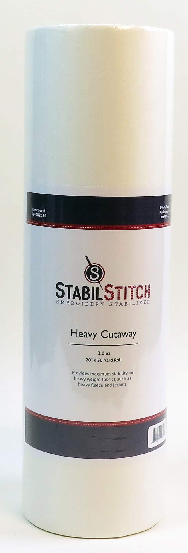 Heavy (3.0 oz.) Cutaway 20'' x 50 Yd Roll - Embroidery Stabilizer by StabilStitch