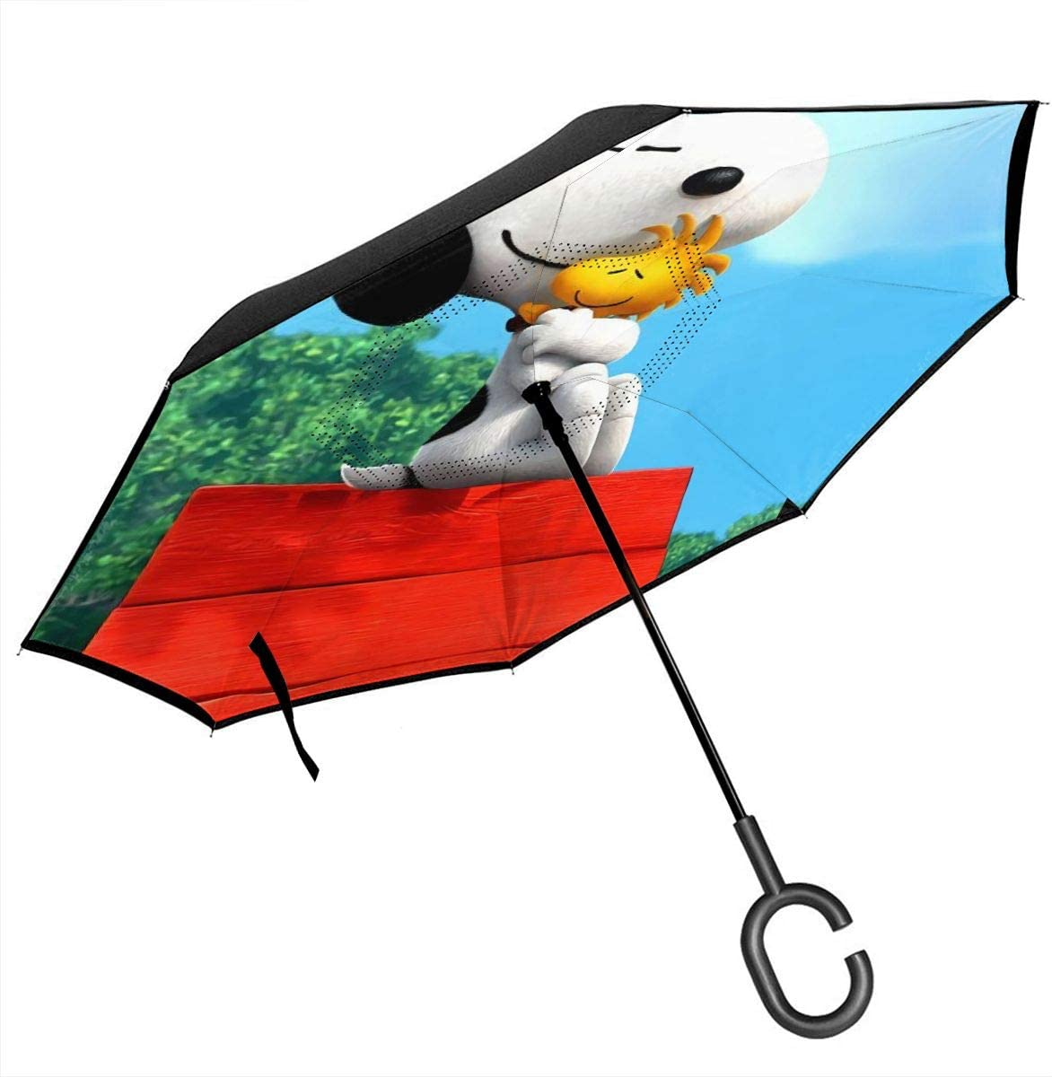 Snoopy Car Reverse Umbrella With C-Shaped Handle UV Protection Inverted Folding Umbrellas Windproof And Rainproof Double Folding Inverted Umbrella