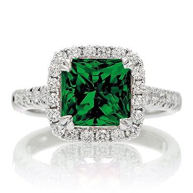 Jeenjewels 1 5 Carat Cushion Cut Emerald Halo Engagement Ring For
