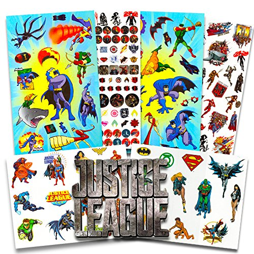DC Comics Justice League Stickers Ultimate Set ~ Over 380 Stickers Featuring Batman, Wonder Woman, Superman, Flash and More (10 Sheets, Justice League Party Favors)