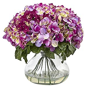 Nearly Natural 1387-BU Hydrangea with Large Vase 68