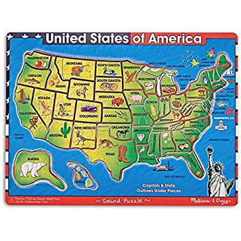 Amazoncom MELISSA DOUG USA MAP SOUND PUZZLE Set of 3 Toys