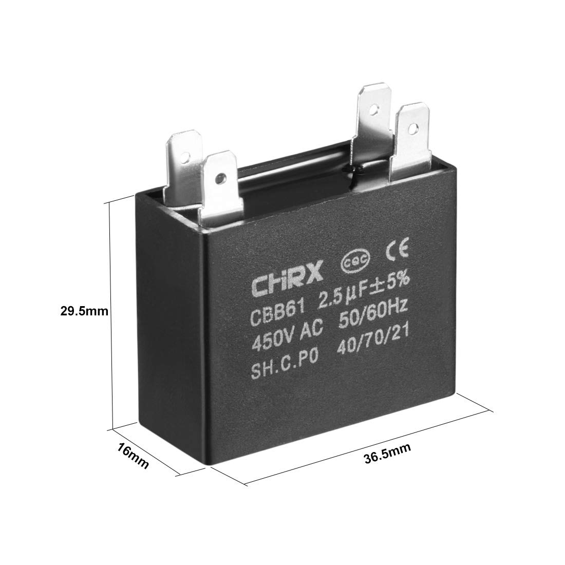 sourcing map CBB61 Run Capacitor 450V AC 3uF 2 Insert Metallized Polypropylene Film Capacitors for Ceiling Fan