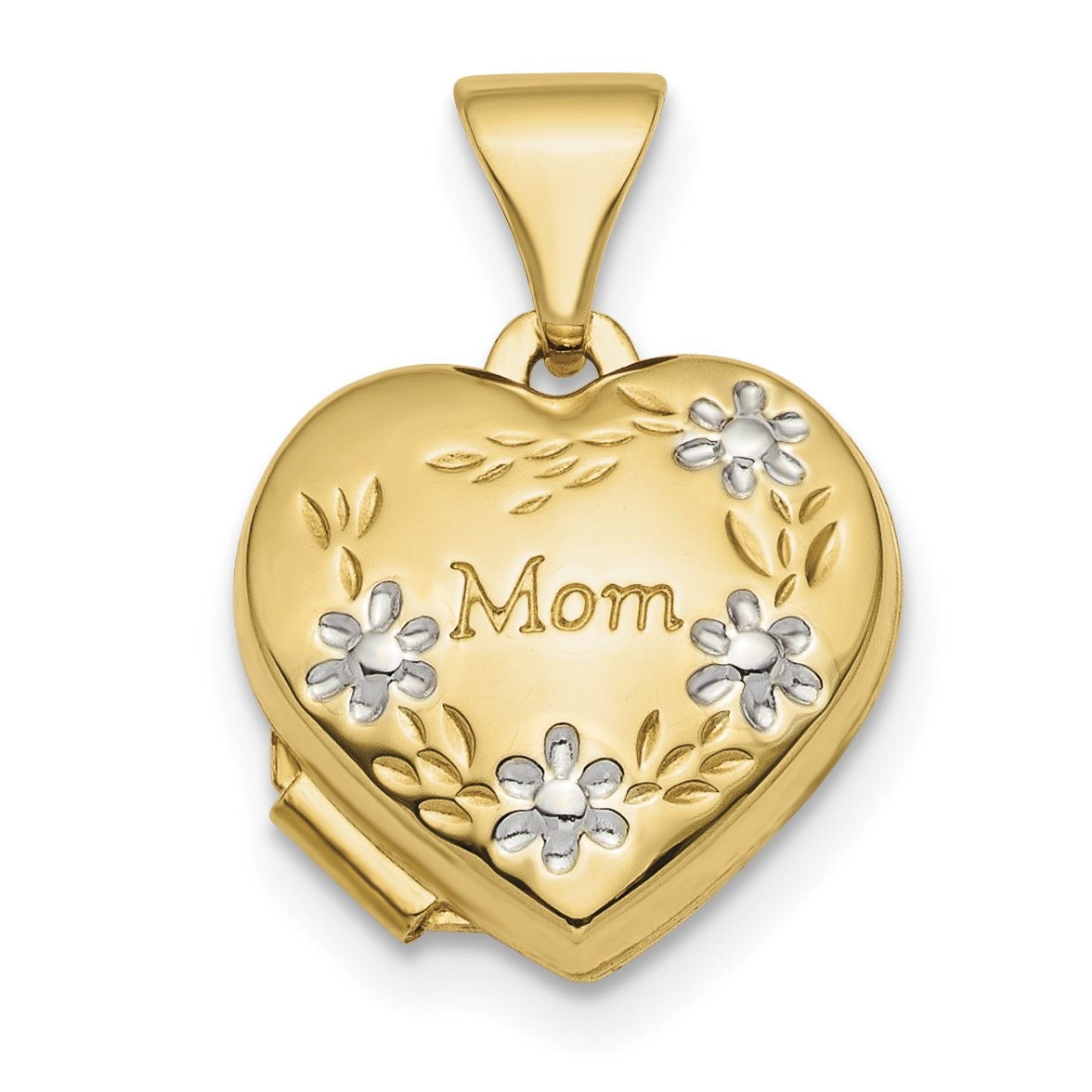 ICE CARATS 14k Yellow Gold Floral Mom Heart Photo Pendant Charm Locket Chain Necklace That Holds Pictures Mot Fine Jewelry Gift Set For Women Heart