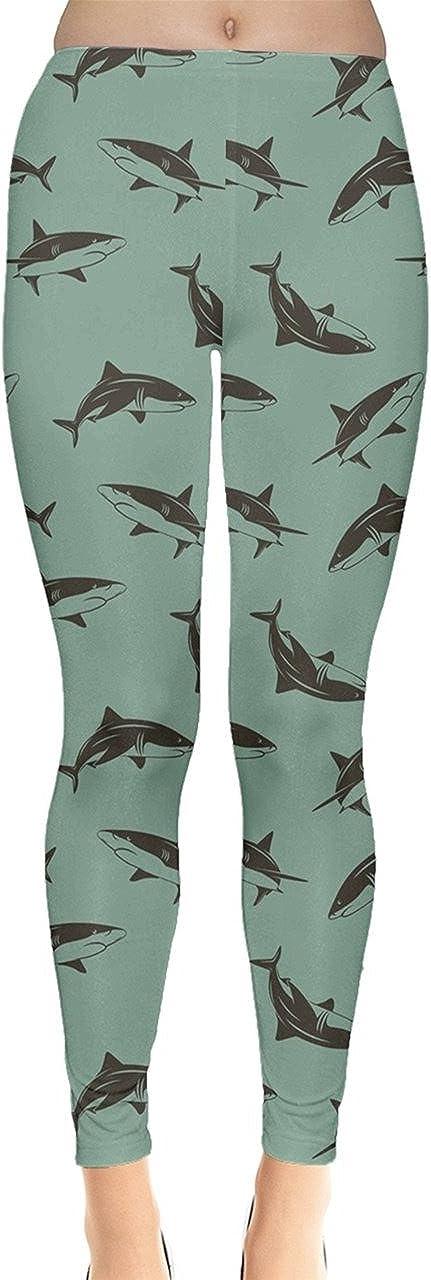 XS-5XL CowCow Womens Space Stretchy Tights Sharks Hammerhead Sea Animal Leggings