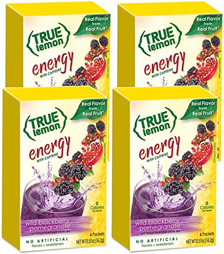 (True Lemon (Energy Drinks) Wild BlackBerry Pomegranate 4 Boxes, 24ct Instant Powdered Drink Mix Packets,)