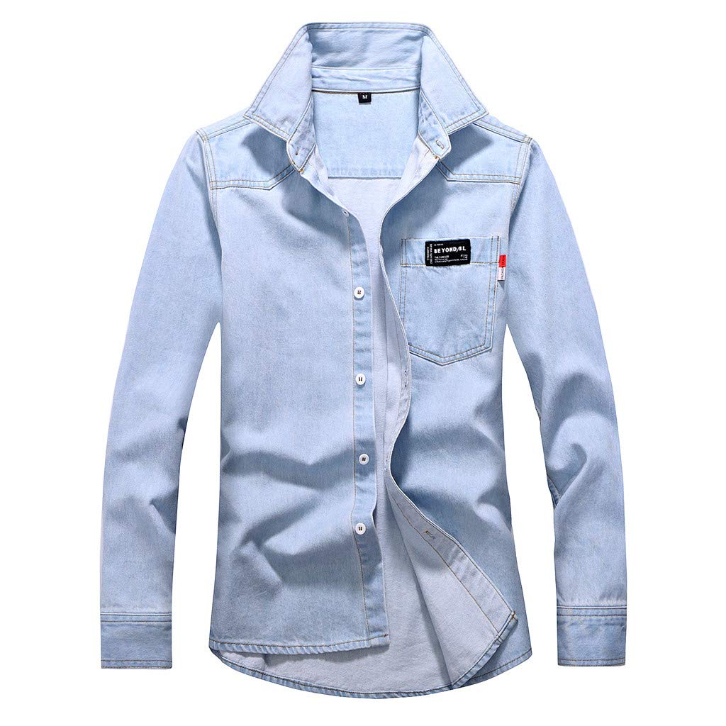 WINJUD Mens Denim Shirt Vintage Washed Distressed Tops Long Sleeve Lapel Outwear(Light Blue,M) by WINJUD