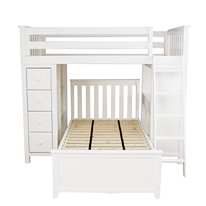 Plank Beam Combo Loft Bed Dresser Desk Over Twin Bed White