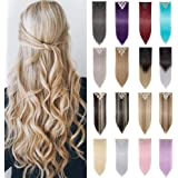 "8Pcs 18Clips 24"" Long Thick Straight Curly Wavy Full Head Hairpieces Clip in Double Weft Hair Extensions 100% Japanese Kanekalon Synthetic Fiber 160g For Girls(Straight, 4/Brown)"