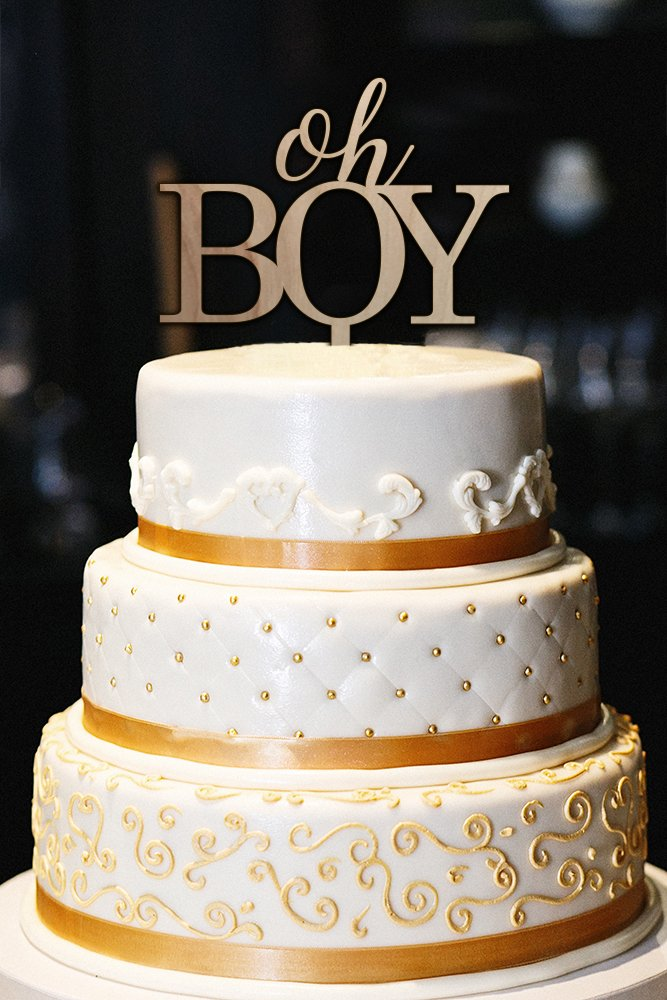 Oh Boy Cake Topper, Wood Cake Topper, Baby Shower Cake Topper, Baby Shower Decor, Gender Reveal Cake Topper (5'')