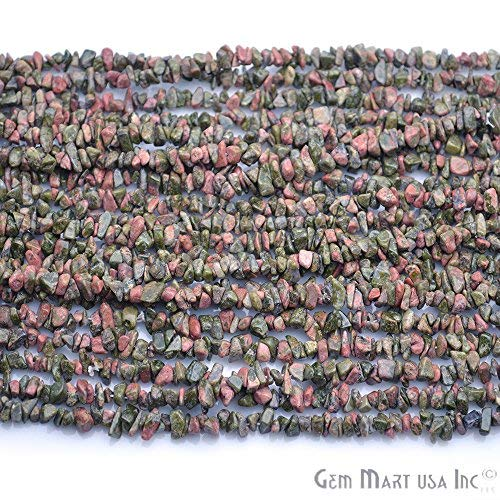 1 Strands (34inches) of Real Natural Unakite Gemstone Chips Beads. wholesale price. Prepared exclusively by GemMartUSA.