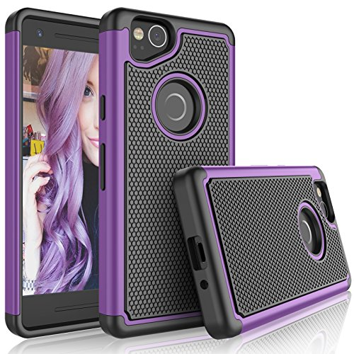Google Pixel 2 Case, 2017 Google Pixel 2 Cute Case, Tekcoo [Tmajor] Shock Absorbing [Purple] Hybrid Combo Rubber Silicone & Plastic Scratch Resistant Bumper Rugged Grip Hard Cases Cover