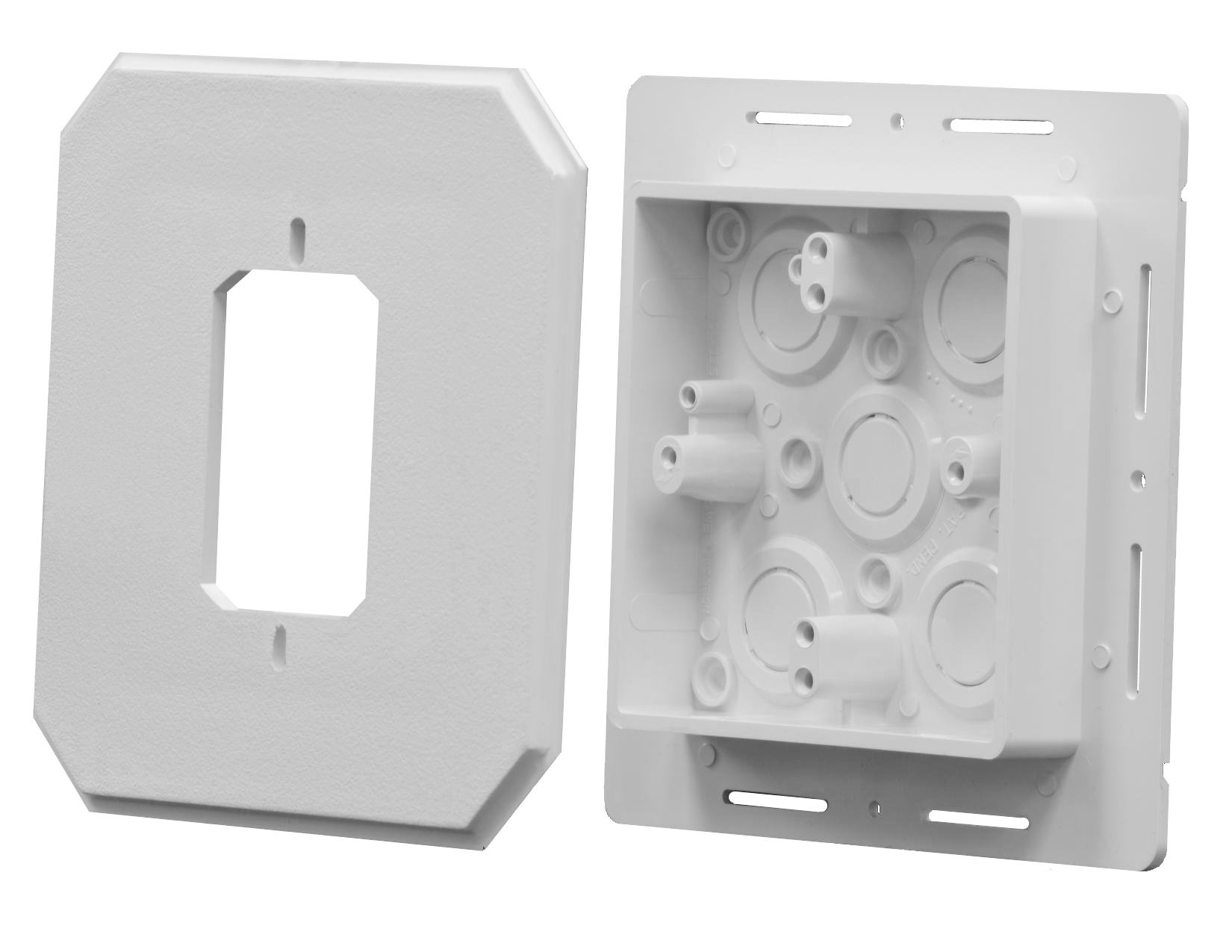 Arlington Industries 8081F Siding Box Kit For Fixtures and Receptacles, Cover with Flanges, White, 25-Pack