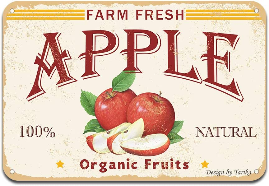 Farm Fresh Apple 100% Nature Organic Fruit Iron Poster Painting Tin Sign Vintage Wall Decor for Cafe Bar Pub Home Beer Decoration Crafts
