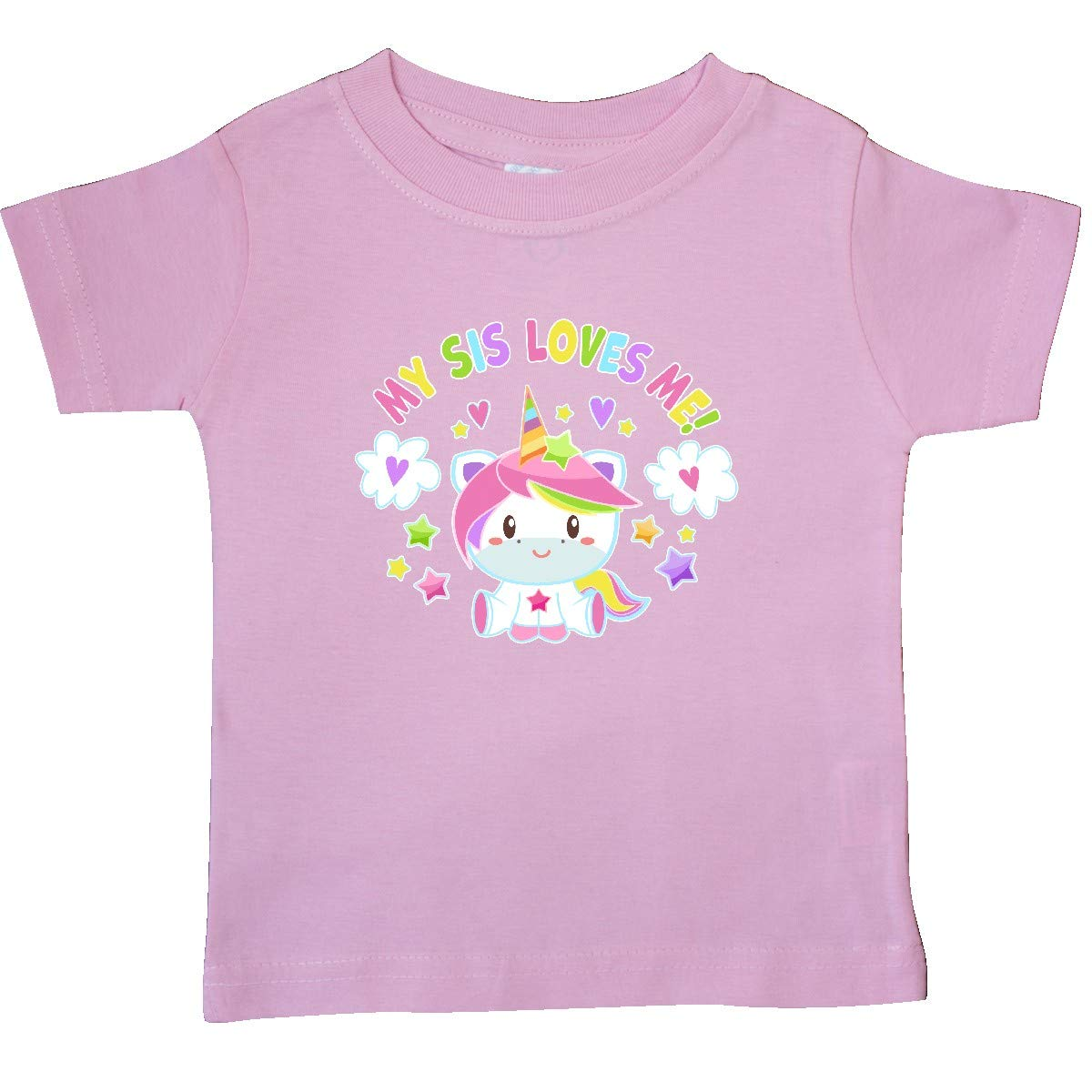 inktastic My Sis Loves Me with Cute Rainbow Unicorn Baby T-Shirt