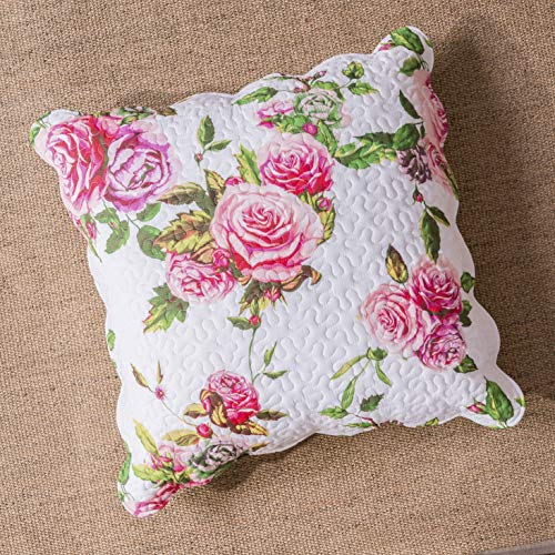 (DaDa Bedding Romantic Euro Sham - Roses Lovely Spring Pink Floral Pillow Cover - 26