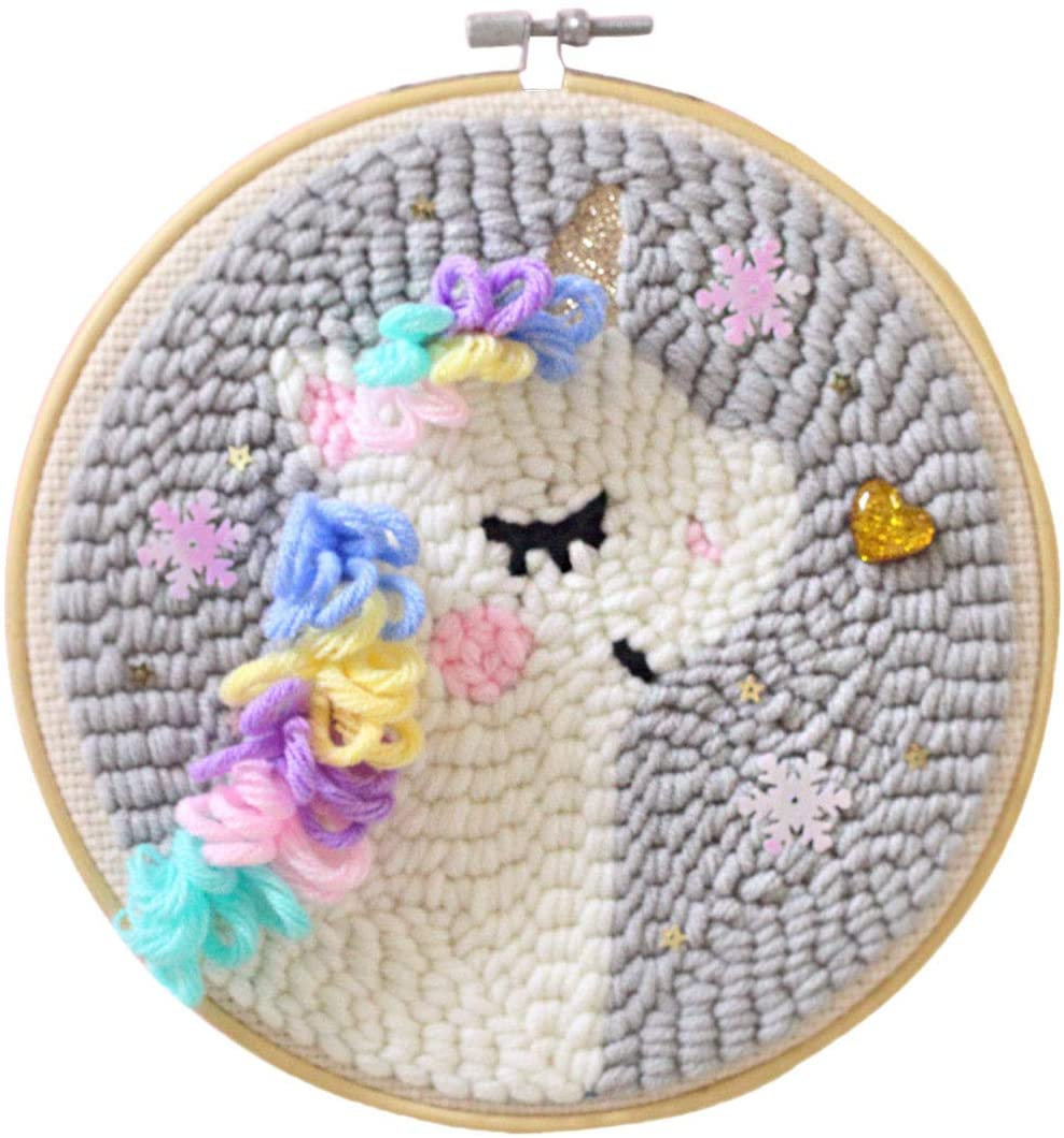 7.5Inch PeleusTech DIY Rug Hooking Kit Punch Needle Starter Kit DIY Wool Rug Punch Kit Knitting with Punch Needle Embroidery Frame 7.5