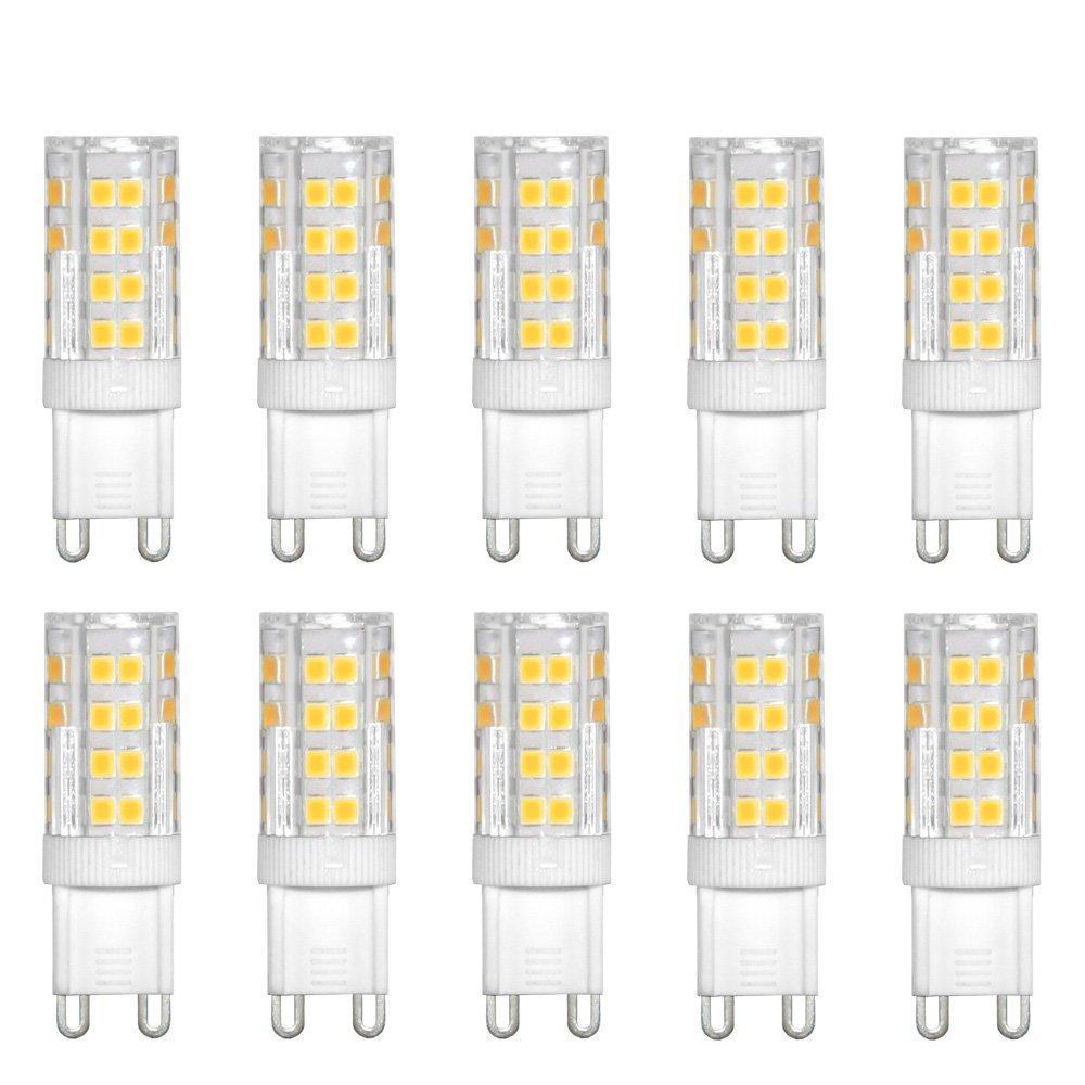 10 x LED Porzellan Stiftsockel Leuchtmittel 4,5W = 40W G9 450lm Warmweiß 3000K