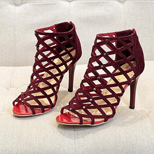 Femmes Rivet Compensé Chaussures Chaussure Femme Talons Chaussures à Toe Hauts Pantoufles Sandales Été Romain Sandales Fille Rouge Gladiateur Peep Talons Plage 0Y5nAnxg