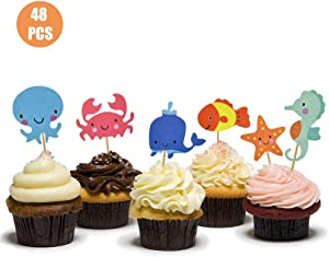 HOKPA Ocean Theme Cupcake Toppers Food Picks Dolphin Seahorse Starfish Fish for for Ocean Nautical Theme Party Baby Shower Kids' Birthday Cake Supplies (48PCS)